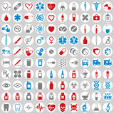 100 ícones médicos ajustados Fotos de Stock Royalty Free