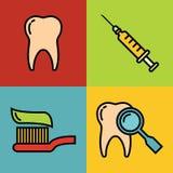 Ícones médicos dos desenhos animados da odontologia no fundo da cor Imagem de Stock