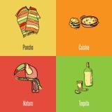 Ícones mexicanos do vetor dos símbolos nacionais ajustados Fotos de Stock