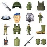 Ícones militares ajustados, estilo da arma dos desenhos animados Fotos de Stock Royalty Free
