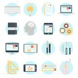 Ícones modernos da ilustração do vetor do projeto liso ajustados Imagens de Stock Royalty Free
