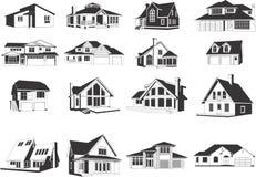 Ícones modernos das casas Imagem de Stock Royalty Free