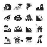 Ícones monocromáticos das catástrofes naturais ajustados Fotografia de Stock