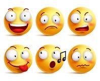 Ícones ou emoticons da cara do smiley com grupo de expressões faciais diferentes Imagens de Stock