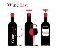 Ícones para o vinho, as adegas, os restaurantes e o vinho Fotografia de Stock