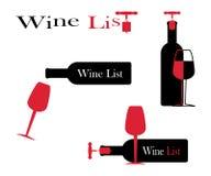 Ícones para o vinho, as adegas, os restaurantes e o vinho Foto de Stock