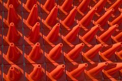 Cones in a pattern. A collection of orange construction safety cones in a pleasing pattern Stock Photos