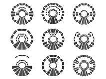 ?cones pretos abstratos foto de stock