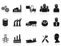 Ícones pretos da indústria ajustados Fotografia de Stock Royalty Free