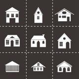 Ícones pretos das construções do vetor ajustados Fotografia de Stock Royalty Free
