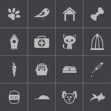 Ícones pretos do animal de estimação do vetor ajustados Imagem de Stock