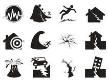 Ícones pretos do terremoto ajustados Fotos de Stock