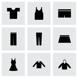Ícones pretos dos olhos da roupa do vetor ajustados Imagens de Stock