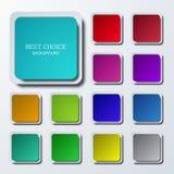 Ícones quadrados coloridos modernos do vetor ajustados Fotografia de Stock Royalty Free