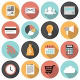 Ícones redondos lisos da Web do negócio e do mercado ajustados Imagens de Stock
