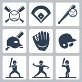 Ícones relacionados do vetor do basebol Foto de Stock
