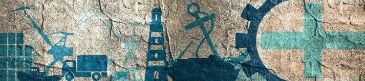 Ícones relativos do porto da carga ajustados Bandeira de Marselha na engrenagem Imagem de Stock