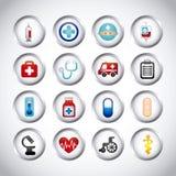 Ícones saudáveis Fotografia de Stock