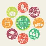 Ícones saudáveis do estilo de vida ajustados Imagens de Stock Royalty Free