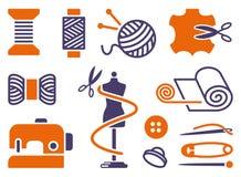 Ícones Sewing e de bordado Imagens de Stock Royalty Free