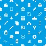 Ícones simples do tema do trabalho de escritório azuis e teste padrão sem emenda branco eps10 Imagem de Stock