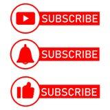 ?cones sociais da notifica??o dos meios Projeto liso Subscreva o botão, ícone do sino da mensagem, como o botão do ícone ilustração royalty free