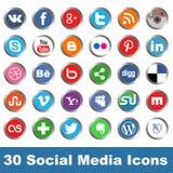 Ícones sociais dos meios Imagens de Stock