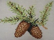 Cones Spruce. Bordado. Foto de Stock