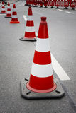Cones on the street. For a marathon in fuerth, germany Royalty Free Stock Photo