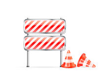 Cones and striped barrier Royalty Free Stock Photos