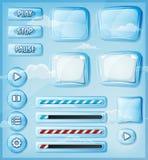 Ícones transparentes de vidro ajustados para o jogo de Ui Imagens de Stock Royalty Free