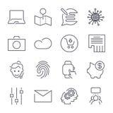 ?cones universais diferentes Linha fina e vetor perfeito para locais, apps, programas ilustração royalty free