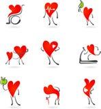 Ícones vermelhos da saúde do coração Imagens de Stock