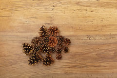 Cones on wood Royalty Free Stock Photo