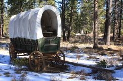Conestoga Wagon. Right front view - Otherwise known as the prairie schooner, the  was the moving van of the 19th century for families travelling across America Royalty Free Stock Photo