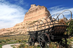 Conestoga wagon at Scotts Bluff. An old covered wagon at Scotts Bluff National Monument, Nebraska stock photo