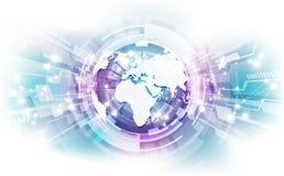 Conexão abstrata da tecnologia digital no fundo do conceito da terra, ilustração do vetor ilustração royalty free