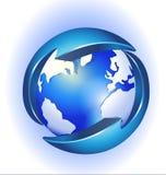 Conexão ao logotipo do mundo Fotografia de Stock Royalty Free