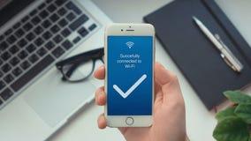 Conexão bem sucedida ao sucesso da rede wireless ilustração stock