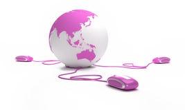 Conexão cor-de-rosa em linha Imagens de Stock Royalty Free