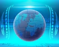 Conexão de Internet da transformação dos dados do cyber do mapa do mundo ilustração do vetor