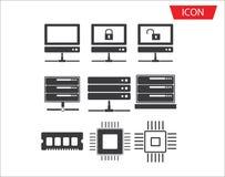 Conexão de rede ajustada do ícone da série do computador ilustração stock
