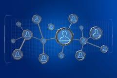 A conexão de rede com os povos ligou-se na tecnologia w Imagens de Stock