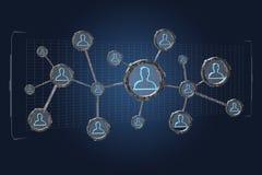 A conexão de rede com os povos ligou-se na tecnologia w Foto de Stock Royalty Free