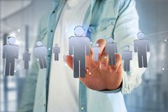 A conexão de rede com os povos ligou-se - a rendição 3D Fotografia de Stock