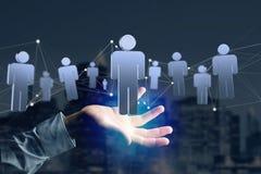 A conexão de rede com os povos ligou-se - a rendição 3D Fotos de Stock Royalty Free