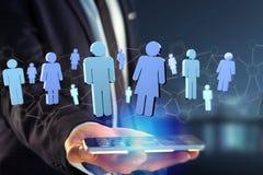 A conexão de rede com os povos ligou-se - a rendição 3D Fotos de Stock
