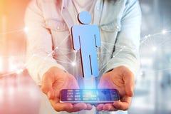 A conexão de rede com os povos ligou-se - a rendição 3D Imagens de Stock Royalty Free
