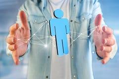 A conexão de rede com os povos ligou-se - a rendição 3D Imagem de Stock Royalty Free