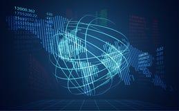 Conexão de rede da relação do mundo abstrato da tecnologia e miliampère digitais ilustração stock